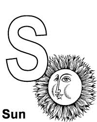 Small Picture Preschool Kids Learning Sun for Letter S Coloring Page Bulk Color