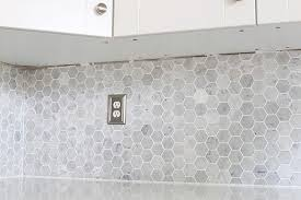 marble hexagon tile. How To Install A Marble Hexagon Tile Backsplash | JustAGirlAndHerBlog.com