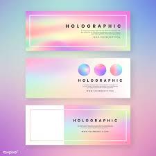 Pink Website Design Holographic Website Banner Design Vector Set Free Image By