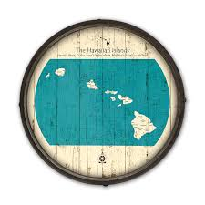 hawaiian islands vintage wooden barrel