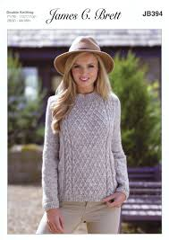 Jumper Pattern New Knitting Pattern Ladies Long Sleeve Cabled Sweater Jumper James