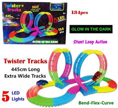Slot Car Led Lights Car Track Set Kids Children Flexible Bendable Glow In The