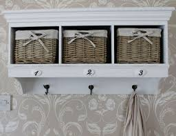 wall units wall mounted storage unit with baskets overhead coat rack with storage shabby chic