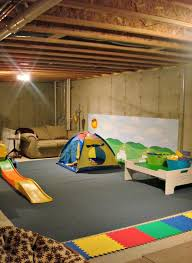 Unfinished Basement Design Simple An Unfinished Basement Playroom
