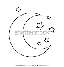 Moon Stars Drawing Coloring Pages Kids Stock Vector Royalty Free