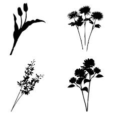 アイコン素材 シルエット 植物花のシルエット 04 無料イラスト素材