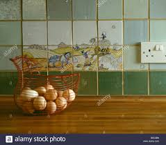 Kitchen Worktop Close Up Of Basket Of Fresh Eggs On Kitchen Worktop With Pictorial