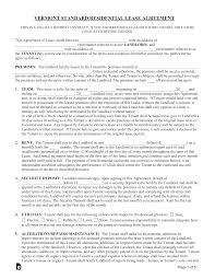 Residential Lease Contract Free Vermont Standard Residential Lease Agreement Form Pdf