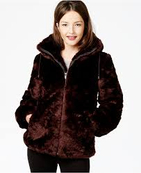 jones new york hooded faux fur coat