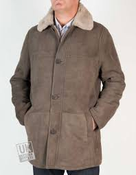 mens shearling sheepskin 3 4 length coat sunningdale grey front