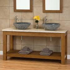 Bamboo Bathroom Sink 60 Kirin Bamboo Double Vessel Sink Console Vanity Bathroom