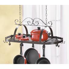 Kitchen Pot Rack Wholesale Decorative Oval Black Wrought Iron Hanging Kitchen Pot