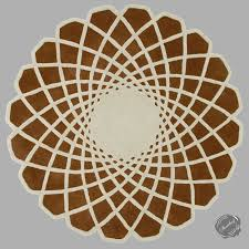 7 to 9 round caleido modern moroccan pattern wool area rug cream