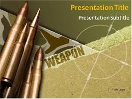 Weapon Theme With Bullets In The Background Powerpoint Template