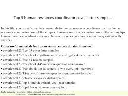Human Resources Coordinator Cover Letter Sample Hr Coordinator