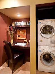 Laundry office Space Saving Surprisingly Common Companion To The Laundry Room Is The Home Office Designer Amy Bubier Created Builtin Desk Nook On The Other Side Of The Concealed Pinterest Beautiful And Efficient Laundry Room Designs Hgtv Clever Solutions