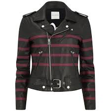 each x other women s striped leather bands biker leather jacket black red image