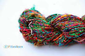 <b>FREE SHIP 100</b> gm-90 Yards-Recycled Sari Silk Yarn-<b>Hand</b> Spun ...