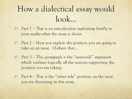 writing a dialectical essay social unit project ppt  how a dialectical essay would look part 1 this is an introduction explaining briefly