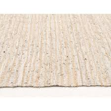 bondi leather and jute rug white side image