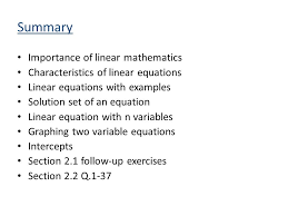 28 summary importance of linear mathematics characteristics