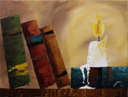 old books by candlelight step by step acrylic painting on canvas for beginners