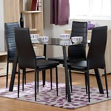 abbey rectangular glass table 4 faux leather chairs dining set look again
