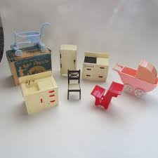 plastic dollhouse furniture sets. renwal doll house furniture jeryco baby stroller set of 7 pieces refrigerator stove carriage plastic dollhouse sets