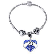 exquisite university sorority society greek letter zeta phi beta heart shaped crystal inlaid big hole loose beads bangle