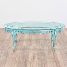 This barnwood coffee table by del hutson designs is made from 100% reclaimed wood and arrives completely assembled and ready to use. Light Blue Shabby Chic Oval Coffee Table Loveseat Online Auctions San Diego