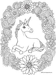 Unicorn Rainbow Wreath Coloring Page Drawingcoloring Pages