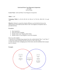 Earth Moon Venn Diagram Earth And Moon Venn Diagram In Inspiration Lesson Name Teks