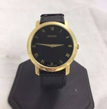gucci watches for men women new used gucci 2200m black dial gold plated leather band vintage swiss watch read