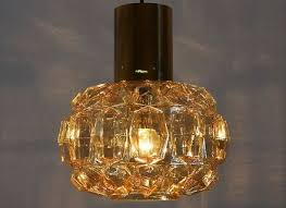 amber bubble glass and brass pendant light or flush mount