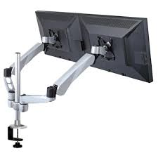 dual monitor stand w spring arm quick connect