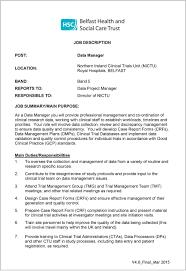 job description data manager job description northern ireland clinical trials unit nictu royal
