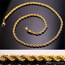 2019 18k real gold plated stainless steel rope chain necklace for men gold chains fashion jewelry gift from yoyozhen 7 14 dhgate com