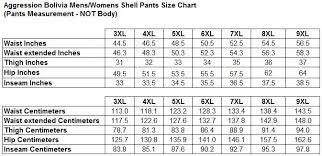 Womens 5xl Size Chart Aggression Bolivia Womens Plus Size Shell Pants Unisex Sizes 3xl 9xl