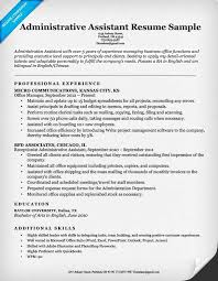 Resume Resume Samples For Administrative Assistant Best