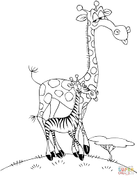 Coloring Pages Coloring Pages Giraffe Head Page Cartoon With Zebra