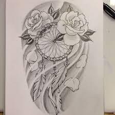 Dream Catcher Tattoo Sketch 100 Dreamcatcher With Roses Tattoos Ideas 30
