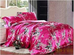 silk sheets queen set peacock feather print hot pink silk bedding set for king queen intended