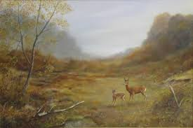 robert dyer landscape painting deer in scottish misty autumn landscape signed oil painting