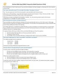 Outlook Light Version Outlook Web App Owa Frequently Asked Questions Faq Pages