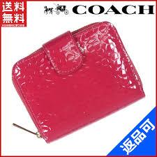 Coach COACH large zip around wallet two bi-fold wallet Ruby enamel leather  (for) good popular X8268