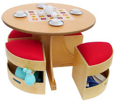 modern round shape kids play table with red bench seat and storage