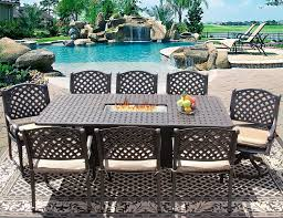 nassau 42x84 rectangle outdoor patio 9pc dining set for 8 person with rectangle fire table series 7000 atlas antique bronze finish