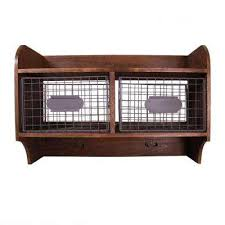 d wood wall shelf with 2 wire baskets