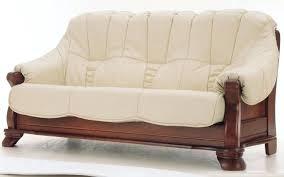leather sofa with wood trim 2 ivory genuine leather sofa set w with regard to wood and leather sofa