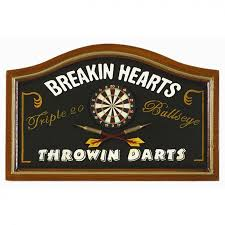 Game Room Wall Decor Ram Gameroom Breaking Hearts Throwing Darts Pub Sign R276 Play